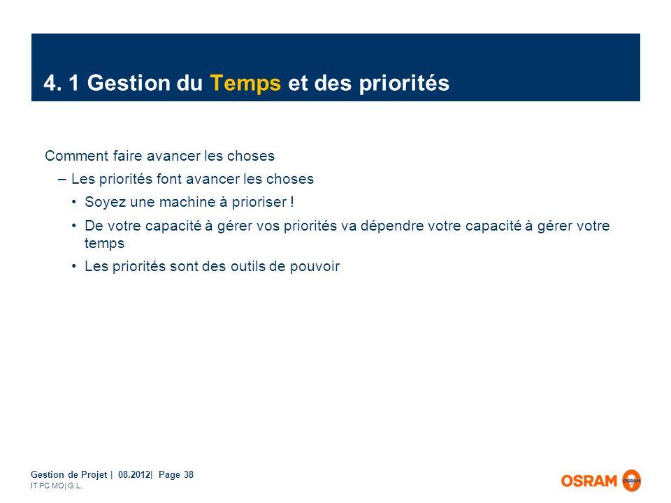 Gestion de Projet | 08.2012| Page 38 IT PC MO| G.L. Comment faire avancer les choses –Les priorités font avancer les choses Soyez une machine à priori