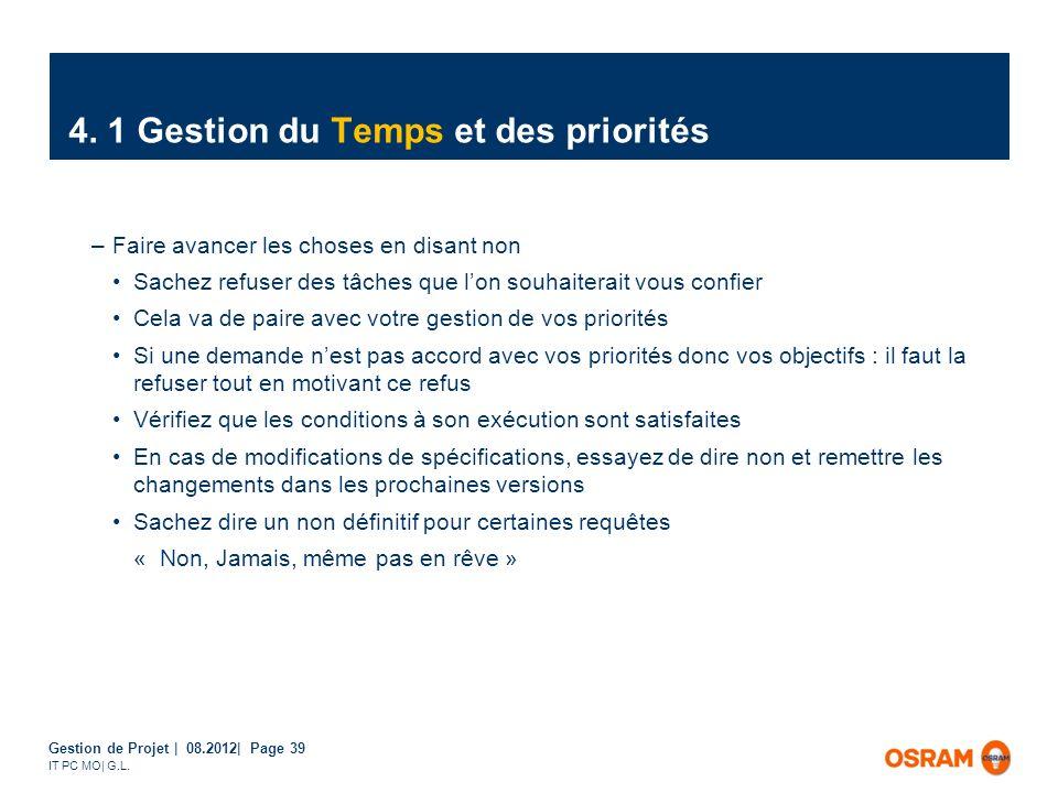 Gestion de Projet | 08.2012| Page 39 IT PC MO| G.L. –Faire avancer les choses en disant non Sachez refuser des tâches que lon souhaiterait vous confie