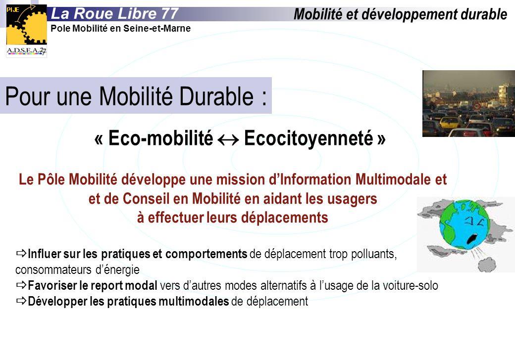 Pour une Mobilité Durable : « Eco-mobilité Ecocitoyenneté » Le Pôle Mobilité développe une mission dInformation Multimodale et et de Conseil en Mobili