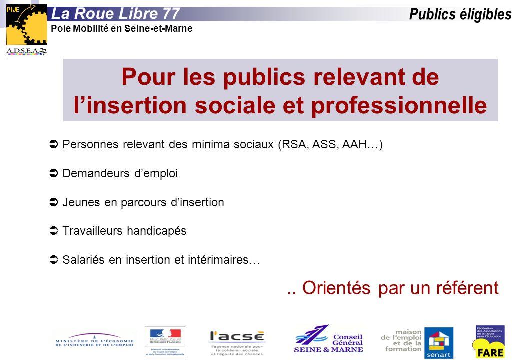 Publics éligibles La Roue Libre 77 Pole Mobilité en Seine-et-Marne Pour les publics relevant de linsertion sociale et professionnelle Personnes releva