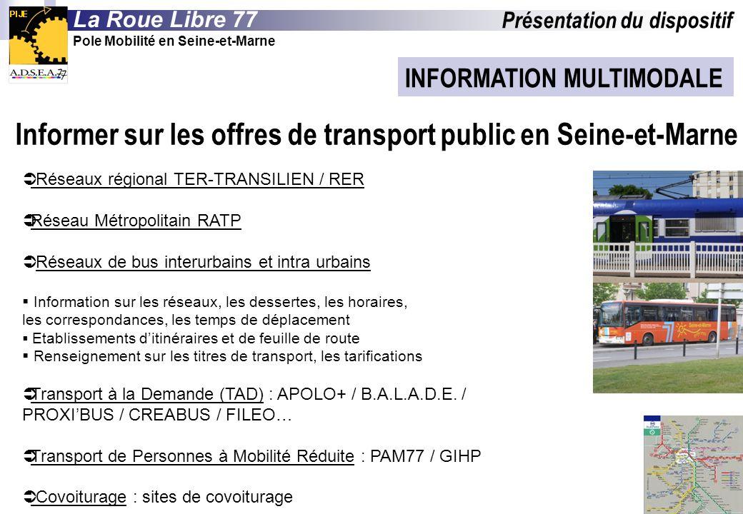 INFORMATION MULTIMODALE Réseaux régional TER-TRANSILIEN / RER Réseau Métropolitain RATP Réseaux de bus interurbains et intra urbains Information sur les réseaux, les dessertes, les horaires, les correspondances, les temps de déplacement Etablissements ditinéraires et de feuille de route Renseignement sur les titres de transport, les tarifications Transport à la Demande (TAD) : APOLO+ / B.A.L.A.D.E.