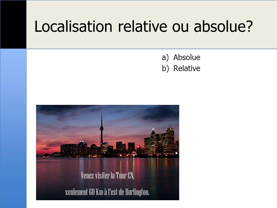 Localisation relative ou absolue? Venez visiter la Tour CN, seulement 60 Km à lest de Burlington. a)Absolue b)Relative