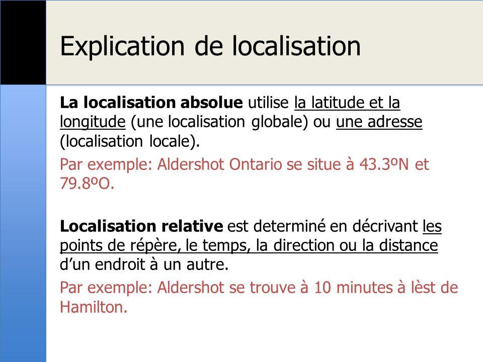 Explication de localisation La localisation absolue utilise la latitude et la longitude (une localisation globale) ou une adresse (localisation locale).