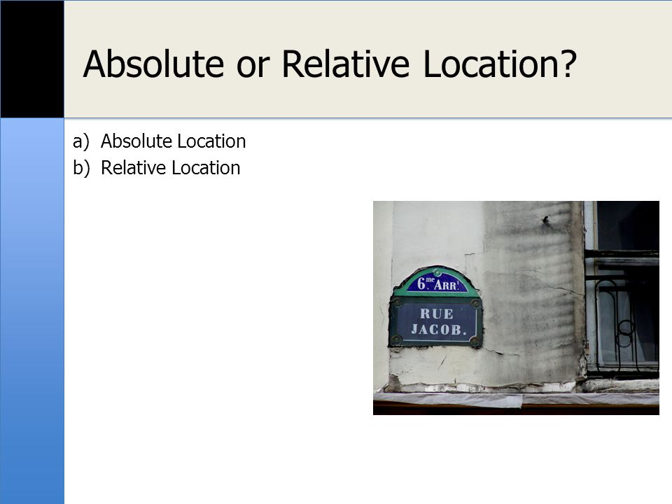 Localisation relative ou absolue? Absolue Relative