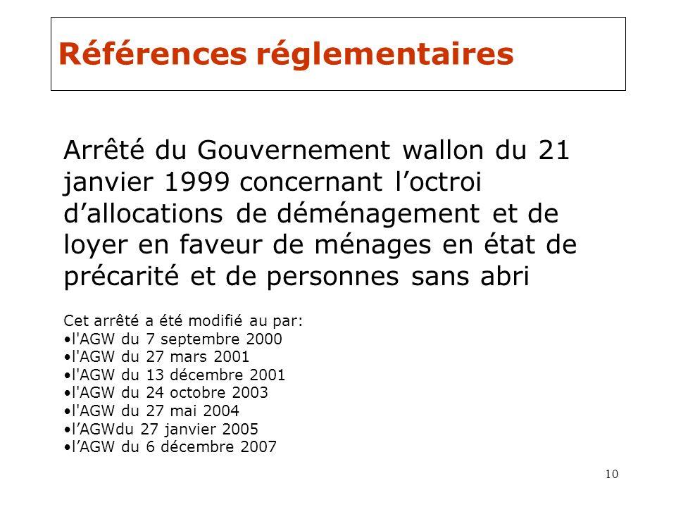 10 Références réglementaires Arrêté du Gouvernement wallon du 21 janvier 1999 concernant loctroi dallocations de déménagement et de loyer en faveur de