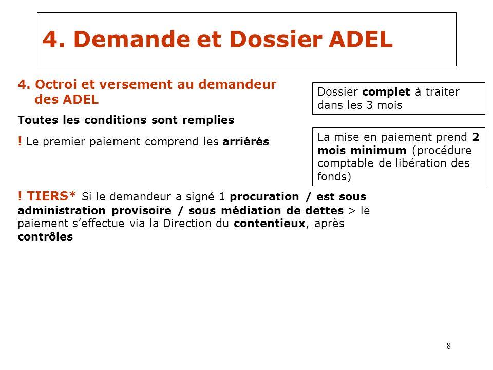 8 4. Demande et Dossier ADEL Dossier complet à traiter dans les 3 mois 4. Octroi et versement au demandeur des ADEL Toutes les conditions sont remplie
