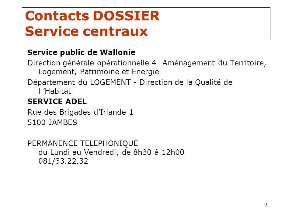9 Contacts DOSSIER Service centraux Service public de Wallonie Direction générale opérationnelle 4 -Aménagement du Territoire, Logement, Patrimoine et
