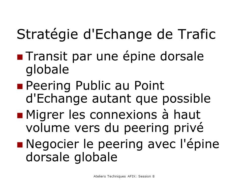 Ateliers Techniques AFIX: Session 8 Stratégie d Echange de Trafic Transit par une épine dorsale globale Peering Public au Point d Echange autant que possible Migrer les connexions à haut volume vers du peering privé Negocier le peering avec l épine dorsale globale