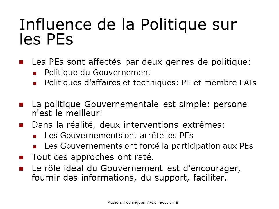 Ateliers Techniques AFIX: Session 8 Influence de la Politique sur les PEs Les PEs sont affectés par deux genres de politique: Politique du Gouvernement Politiques d affaires et techniques: PE et membre FAIs La politique Gouvernementale est simple: persone n est le meilleur.