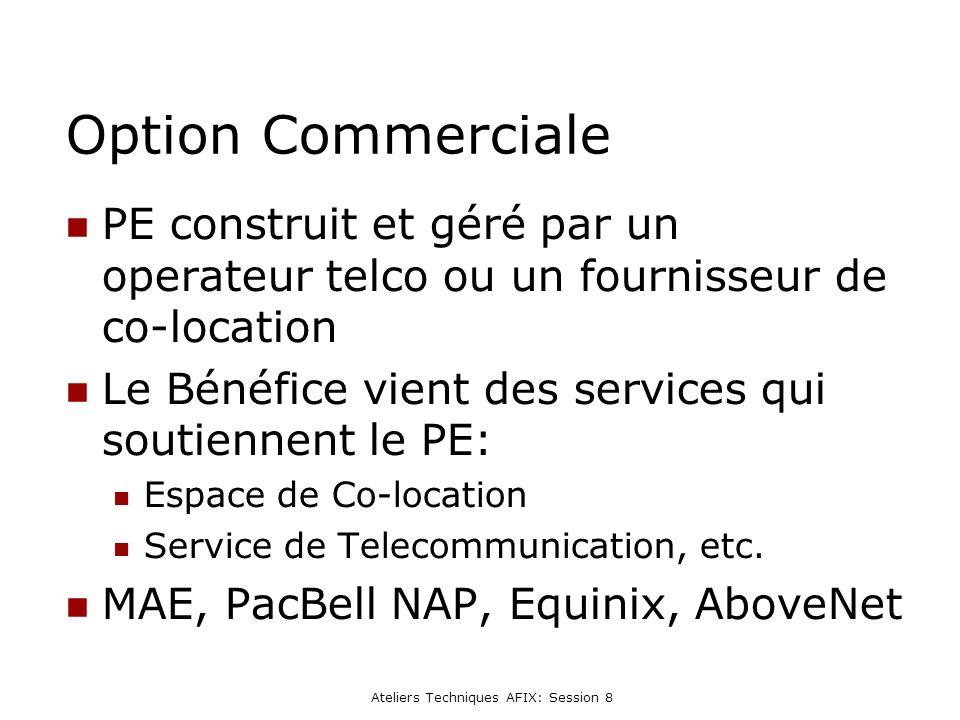 Ateliers Techniques AFIX: Session 8 Option Commerciale PE construit et géré par un operateur telco ou un fournisseur de co-location Le Bénéfice vient des services qui soutiennent le PE: Espace de Co-location Service de Telecommunication, etc.
