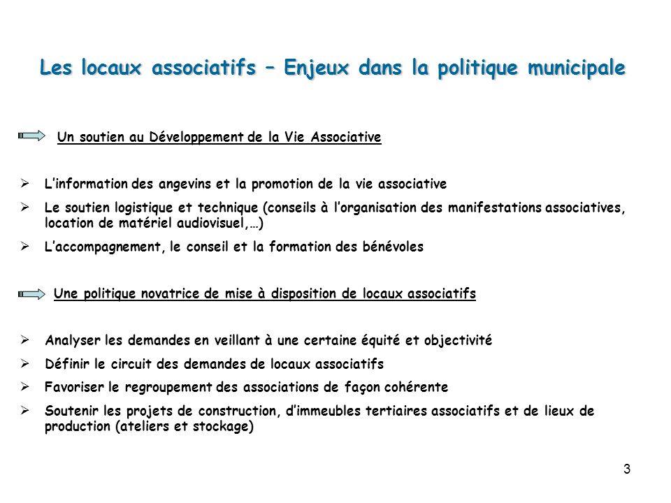 3 Les locaux associatifs – Enjeux dans la politique municipale Un soutien au Développement de la Vie Associative Linformation des angevins et la promo