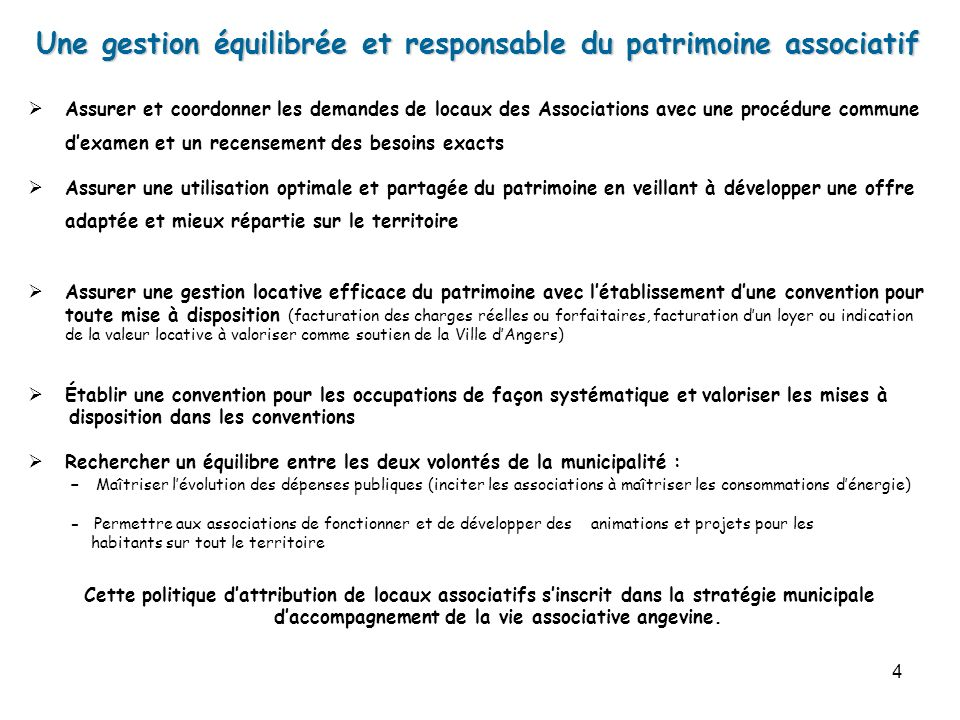 4 Assurer et coordonner les demandes de locaux des Associations avec une procédure commune dexamen et un recensement des besoins exacts Assurer une ut