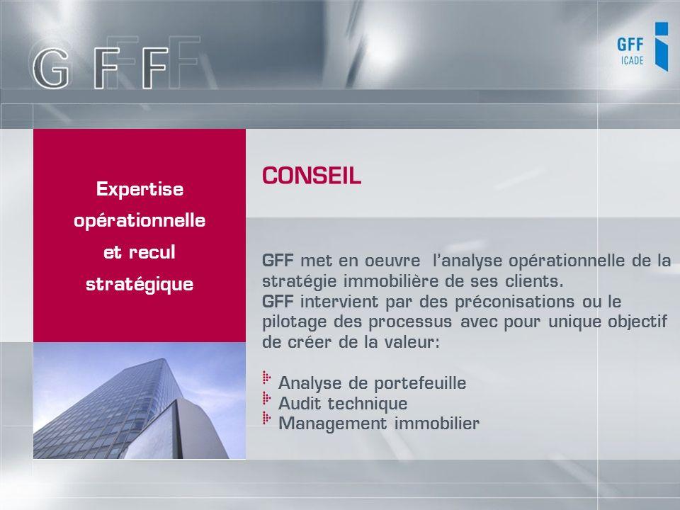 Expertise opérationnelle et recul stratégique GFF met en oeuvre lanalyse opérationnelle de la stratégie immobilière de ses clients. GFF intervient par
