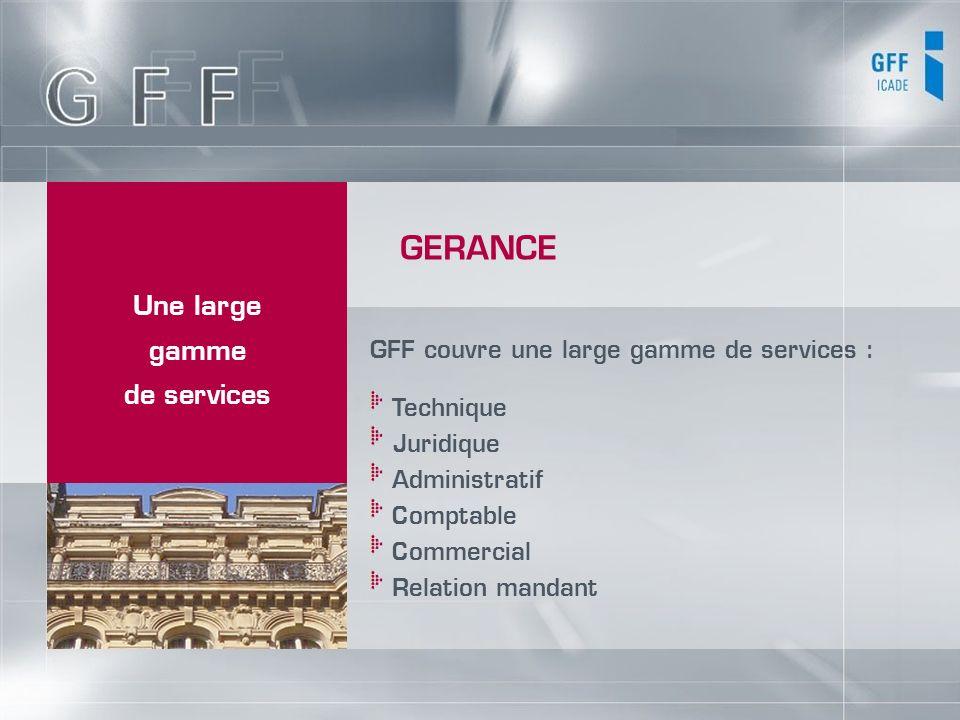 Une large gamme de services GFF couvre une large gamme de services : Technique Juridique Administratif Comptable Commercial Relation mandant GERANCE