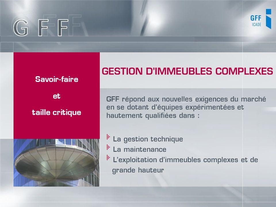 Savoir-faire et taille critique GFF répond aux nouvelles exigences du marché en se dotant déquipes expérimentées et hautement qualifiées dans : La ges