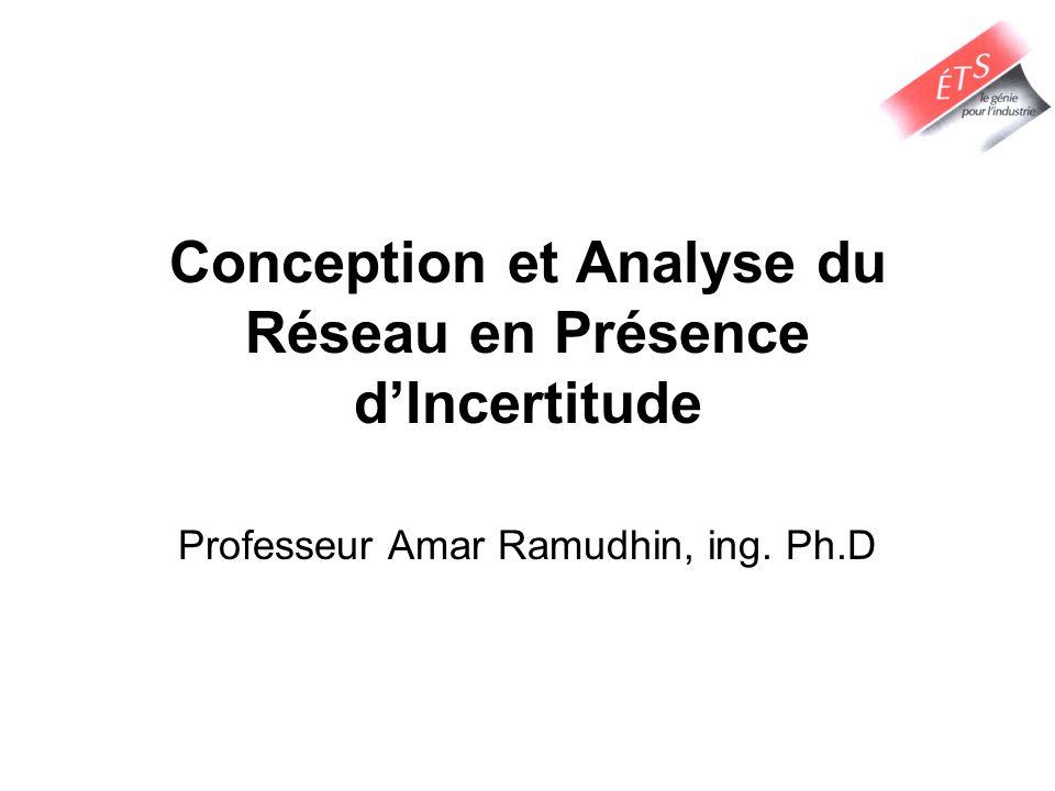 Conception et Analyse du Réseau en Présence dIncertitude Professeur Amar Ramudhin, ing. Ph.D