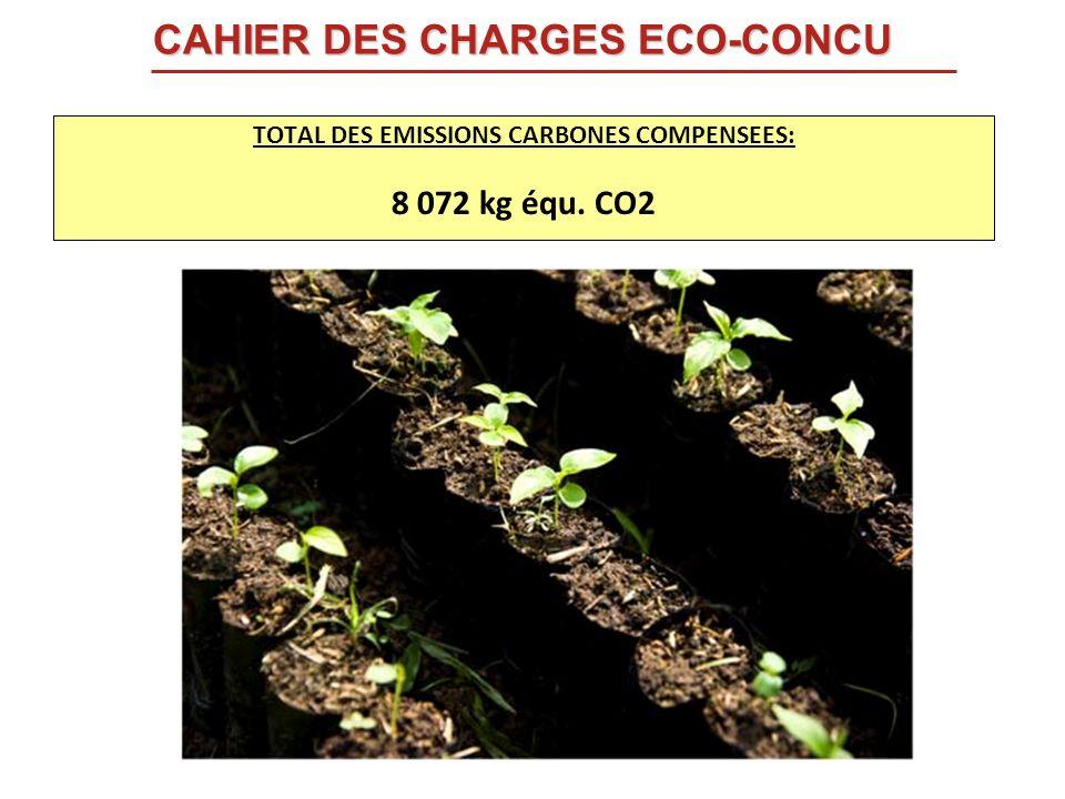 TOTAL DES EMISSIONS CARBONES COMPENSEES: 8 072 kg équ. CO2 CAHIER DES CHARGES ECO-CONCU