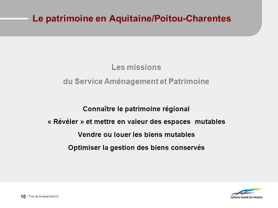 / Titre de la présentation 10 Le patrimoine en Aquitaine/Poitou-Charentes Les missions du Service Aménagement et Patrimoine Connaître le patrimoine ré