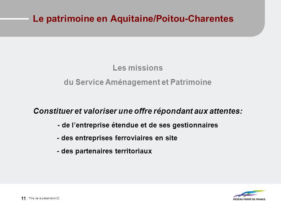 / Titre de la présentation 11 Le patrimoine en Aquitaine/Poitou-Charentes Les missions du Service Aménagement et Patrimoine Constituer et valoriser un