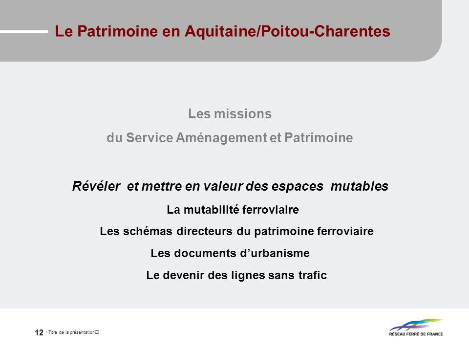 / Titre de la présentation 12 Le Patrimoine en Aquitaine/Poitou-Charentes Les missions du Service Aménagement et Patrimoine Révéler et mettre en valeu
