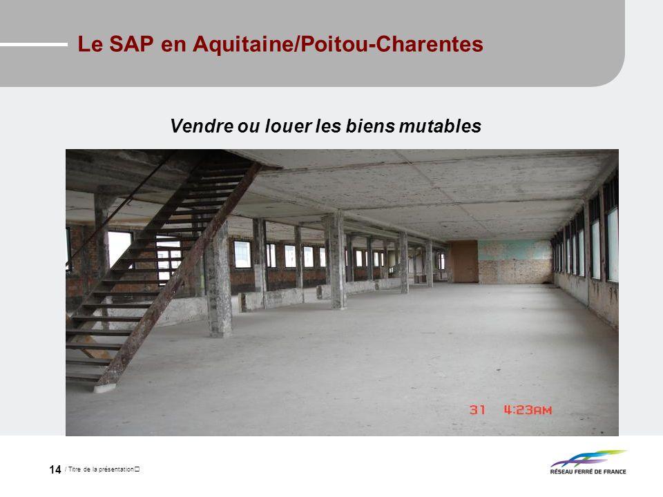 / Titre de la présentation 14 Le SAP en Aquitaine/Poitou-Charentes Vendre ou louer les biens mutables