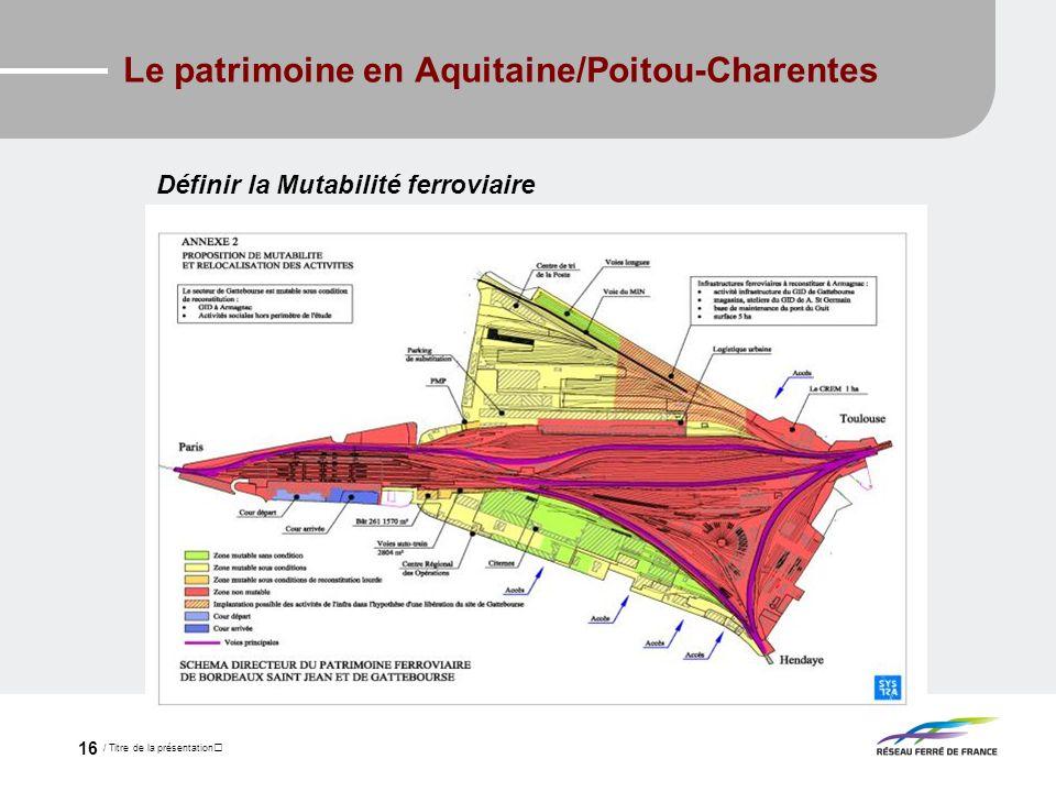 / Titre de la présentation 16 Le patrimoine en Aquitaine/Poitou-Charentes Définir la Mutabilité ferroviaire