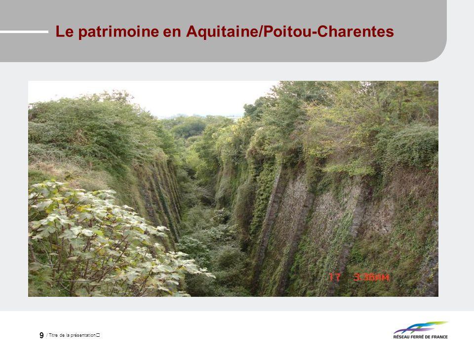 / Titre de la présentation 9 Le patrimoine en Aquitaine/Poitou-Charentes