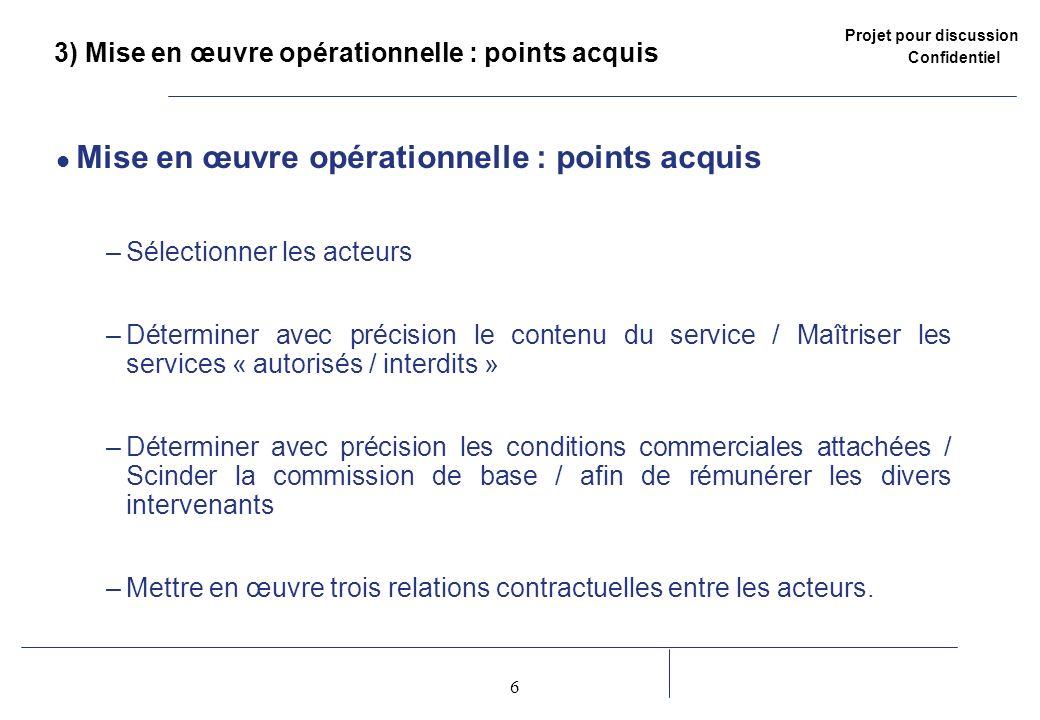 Projet pour discussion Confidentiel 6 2 3) Mise en œuvre opérationnelle : points acquis Mise en œuvre opérationnelle : points acquis –Sélectionner les