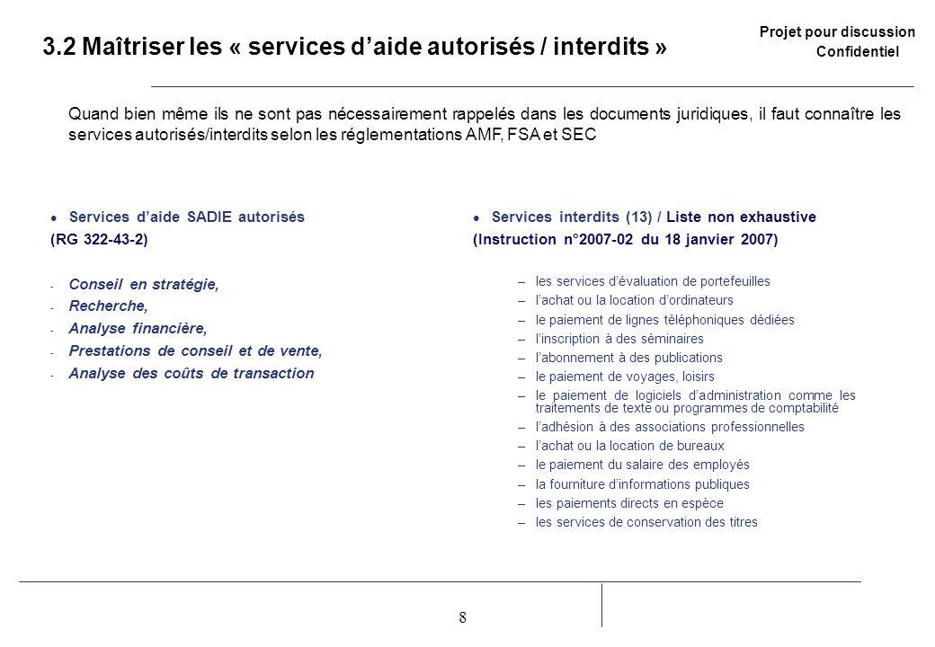 Projet pour discussion Confidentiel 8 2 3.2 Maîtriser les « services daide autorisés / interdits » Services daide SADIE autorisés (RG 322-43-2) - Cons