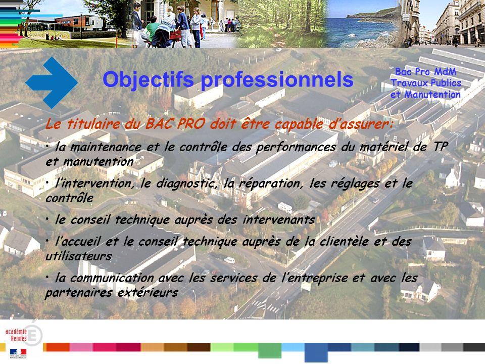 Titre Qualités requises Le titulaire du Bac PRO doit posséder les qualités dans le (s): - travail avec la hiérarchie - travail déquipe - relations avec les clients, utilisateurs, en interne comme en externe Bac Pro MdM Travaux Publics et Manutention