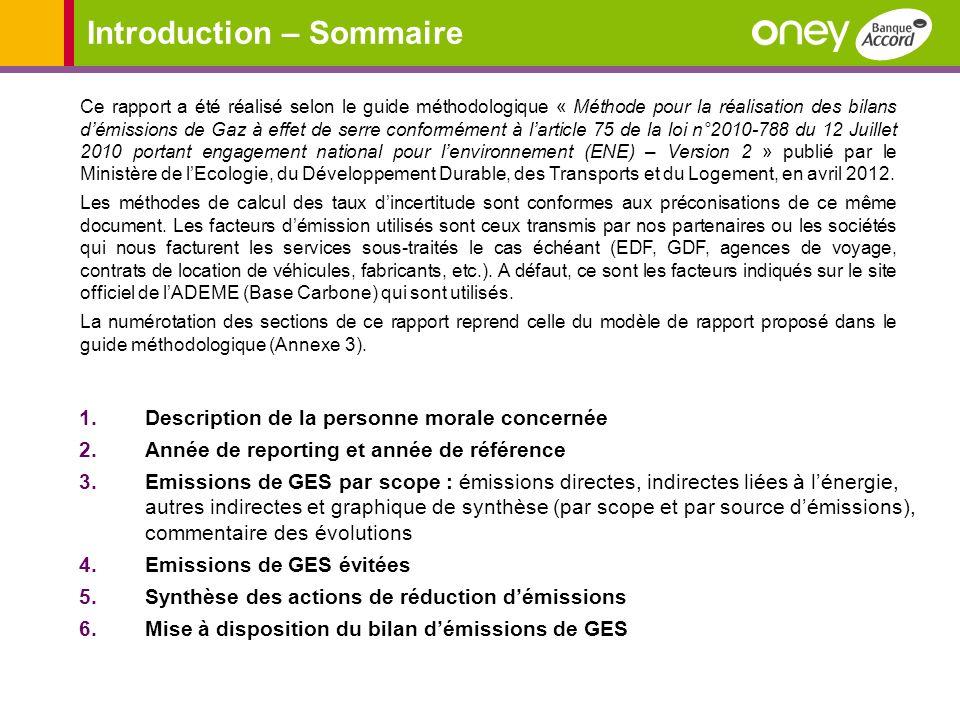 Introduction – Sommaire 1.Description de la personne morale concernée 2.Année de reporting et année de référence 3.Emissions de GES par scope : émissi