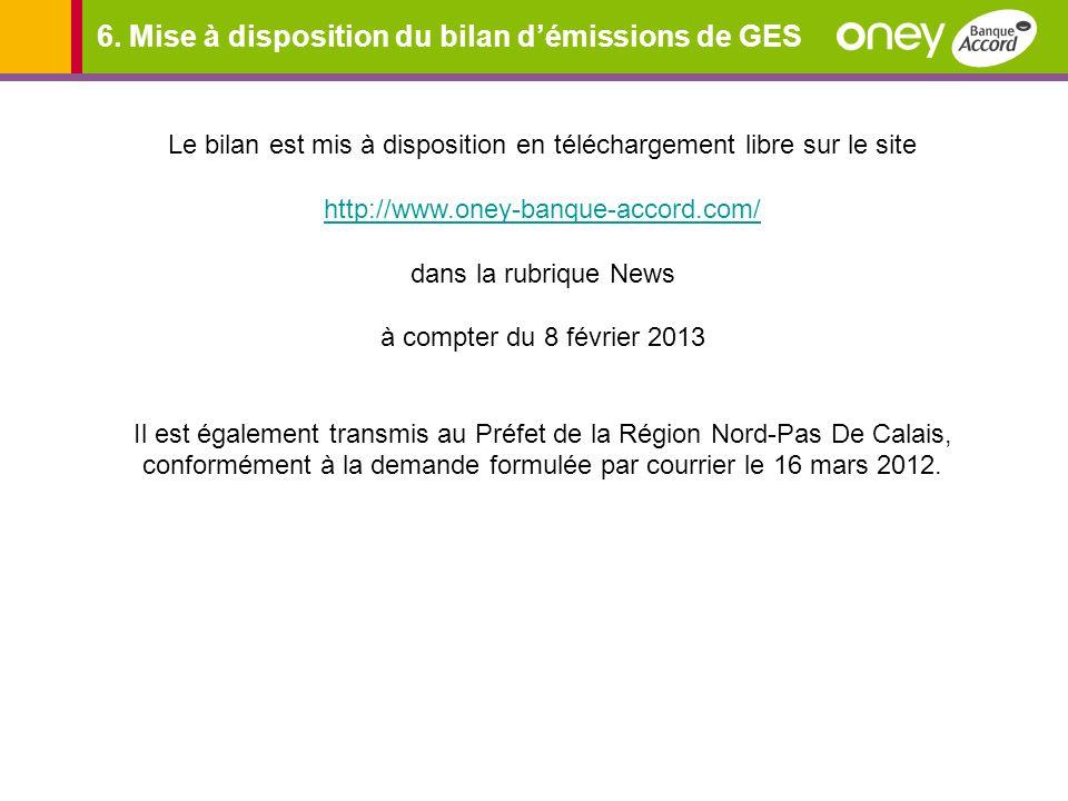 6. Mise à disposition du bilan démissions de GES Le bilan est mis à disposition en téléchargement libre sur le site http://www.oney-banque-accord.com/