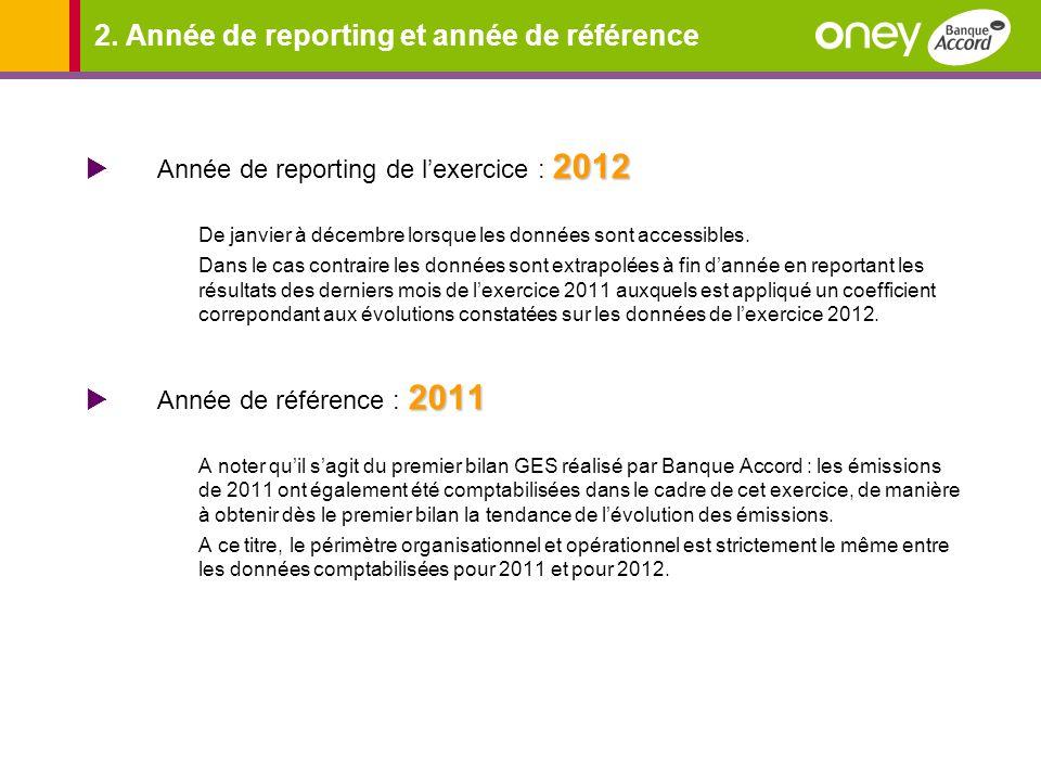 2. Année de reporting et année de référence 2012 Année de reporting de lexercice : 2012 De janvier à décembre lorsque les données sont accessibles. Da