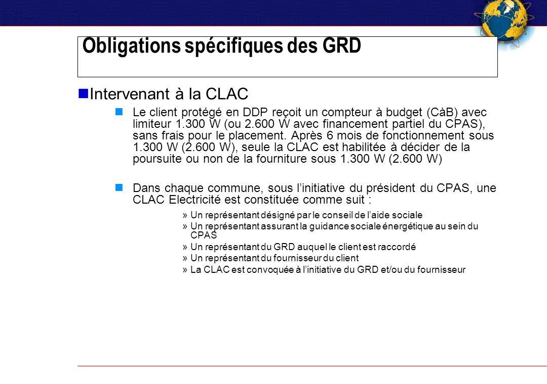 Obligations spécifiques des GRD Intervenant à la CLAC Le client protégé en DDP reçoit un compteur à budget (CàB) avec limiteur 1.300 W (ou 2.600 W avec financement partiel du CPAS), sans frais pour le placement.