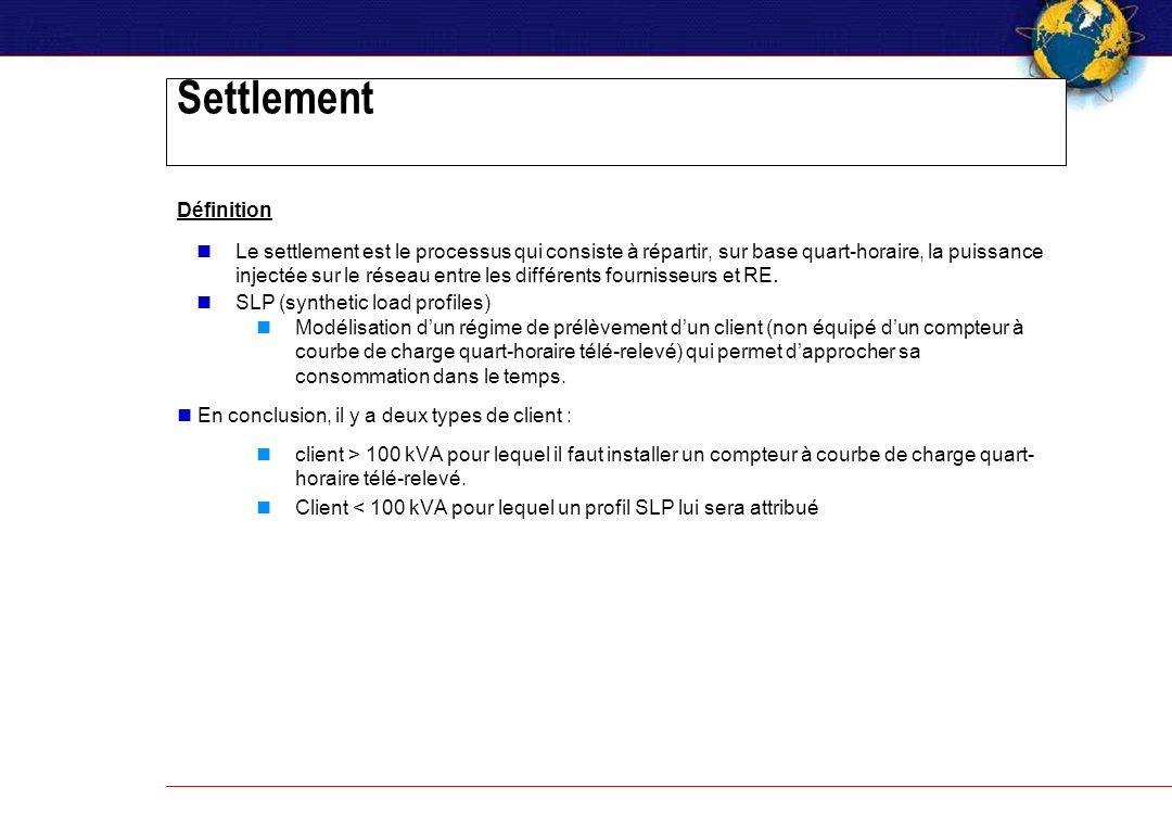 Settlement Définition Le settlement est le processus qui consiste à répartir, sur base quart-horaire, la puissance injectée sur le réseau entre les différents fournisseurs et RE.