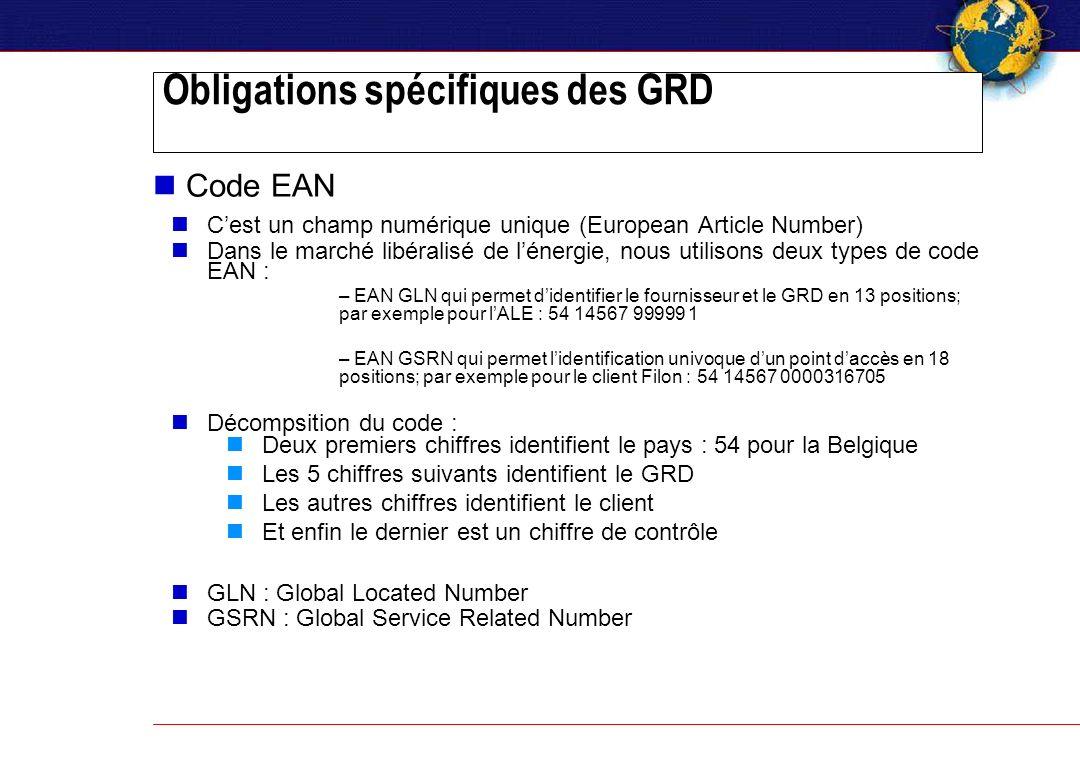 Obligations spécifiques des GRD Code EAN Cest un champ numérique unique (European Article Number) Dans le marché libéralisé de lénergie, nous utilisons deux types de code EAN : – EAN GLN qui permet didentifier le fournisseur et le GRD en 13 positions; par exemple pour lALE : 54 14567 99999 1 – EAN GSRN qui permet lidentification univoque dun point daccès en 18 positions; par exemple pour le client Filon : 54 14567 0000316705 Décompsition du code : Deux premiers chiffres identifient le pays : 54 pour la Belgique Les 5 chiffres suivants identifient le GRD Les autres chiffres identifient le client Et enfin le dernier est un chiffre de contrôle GLN : Global Located Number GSRN : Global Service Related Number