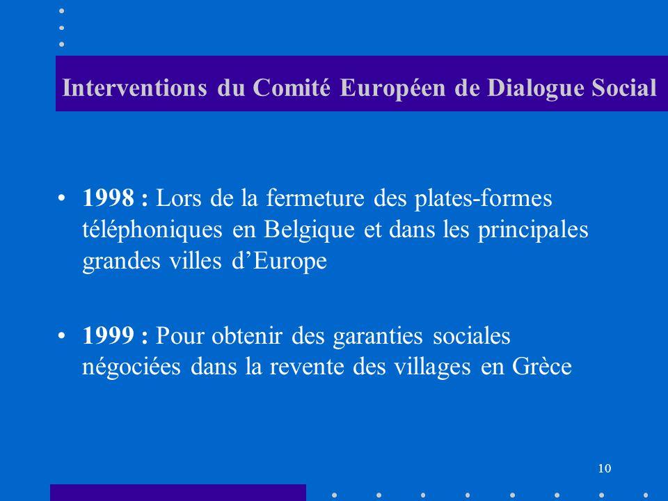 Interventions du Comité Européen de Dialogue Social 1998 : Lors de la fermeture des plates-formes téléphoniques en Belgique et dans les principales grandes villes dEurope 1999 : Pour obtenir des garanties sociales négociées dans la revente des villages en Grèce 10