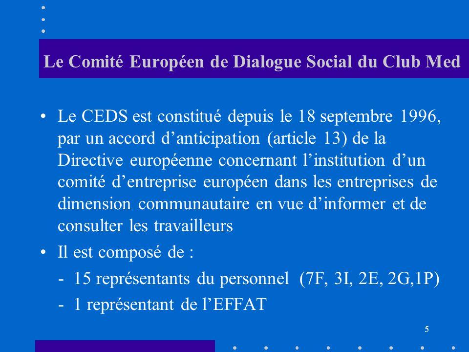 Le Comité Européen de Dialogue Social du Club Med Le CEDS est constitué depuis le 18 septembre 1996, par un accord danticipation (article 13) de la Directive européenne concernant linstitution dun comité dentreprise européen dans les entreprises de dimension communautaire en vue dinformer et de consulter les travailleurs Il est composé de : - 15 représentants du personnel (7F, 3I, 2E, 2G,1P) - 1 représentant de lEFFAT 5