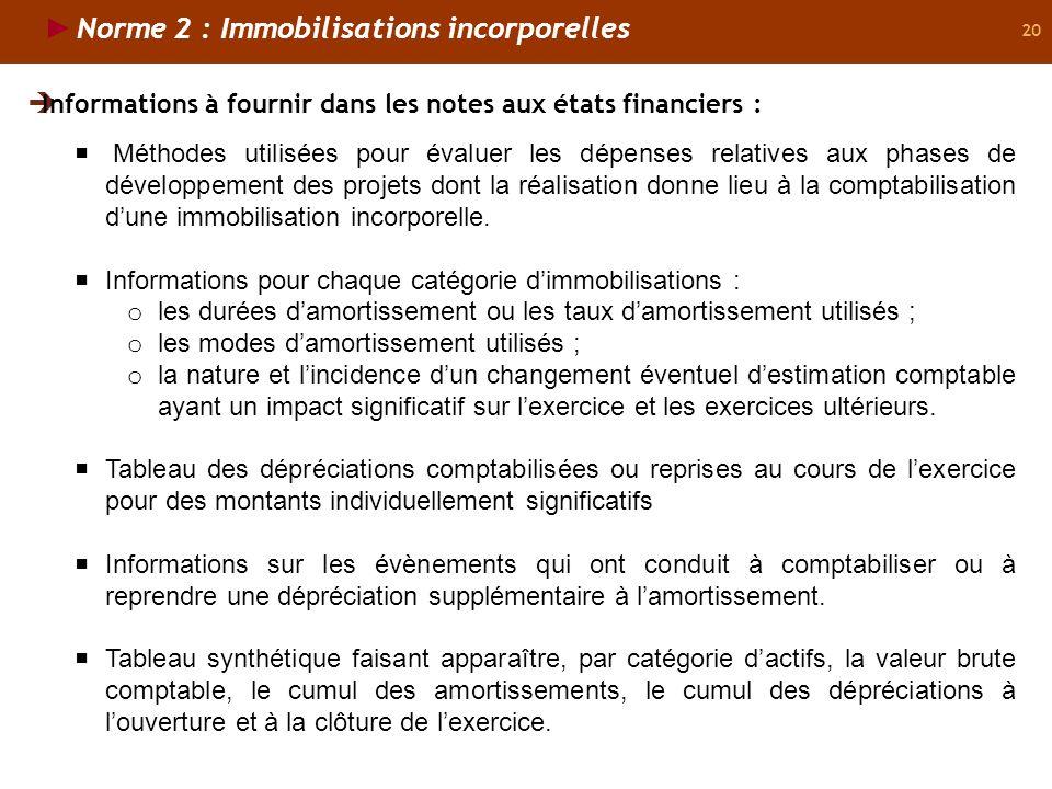 20 Norme 2 : Immobilisations incorporelles Informations à fournir dans les notes aux états financiers : Méthodes utilisées pour évaluer les dépenses relatives aux phases de développement des projets dont la réalisation donne lieu à la comptabilisation dune immobilisation incorporelle.