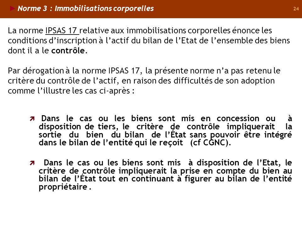 24 La norme IPSAS 17 relative aux immobilisations corporelles énonce les conditions dinscription à lactif du bilan de lEtat de lensemble des biens dont il a le contrôle.