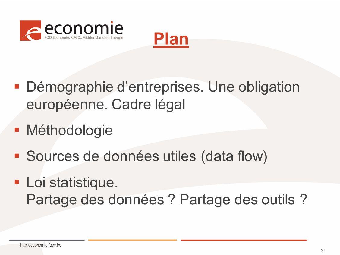 http://economie.fgov.be 27 Plan Démographie dentreprises.
