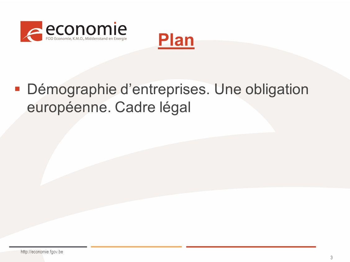 http://economie.fgov.be 3 Plan Démographie dentreprises. Une obligation européenne. Cadre légal