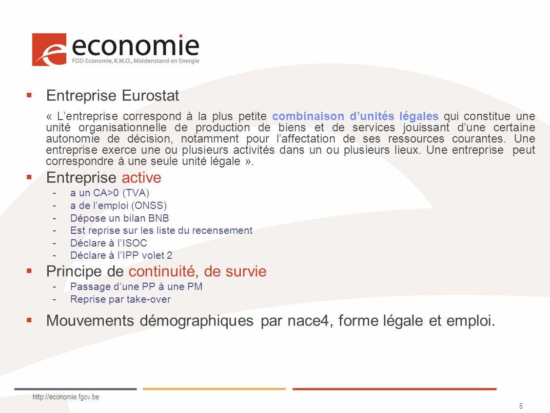 http://economie.fgov.be 6 Matching Change of controlling legal unit DENOM NoYesNo YesNoYes Change of principal activity NACE No YesNoYes Change of main location LOC No YesNoYes NoYes Continuity of Enterprise.