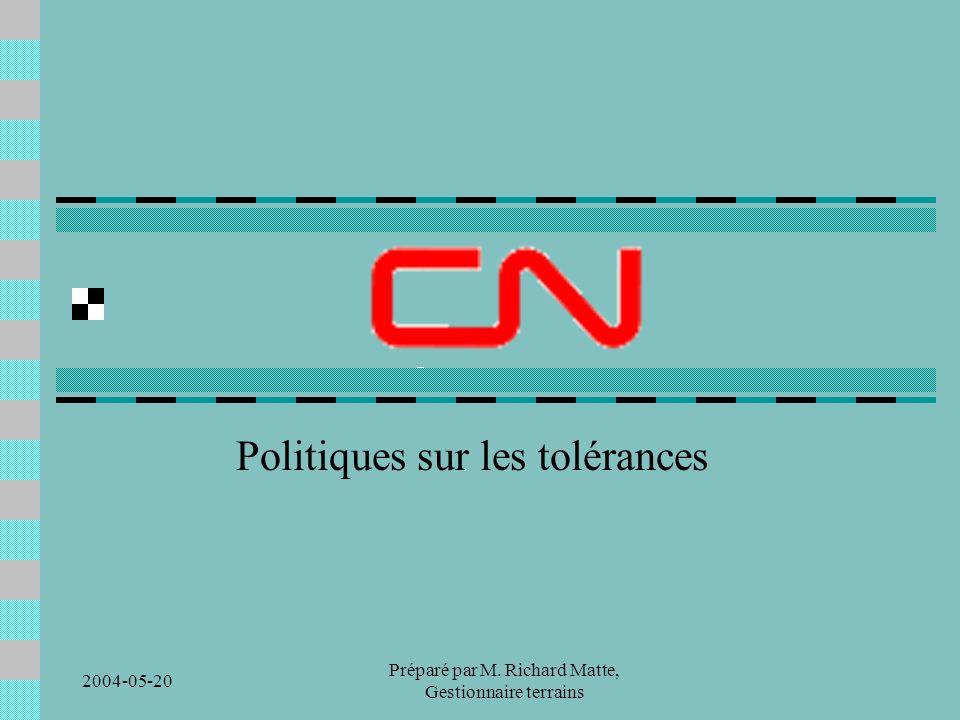 2004-05-20 Préparé par M. Richard Matte, Gestionnaire terrains Politiques sur les tolérances