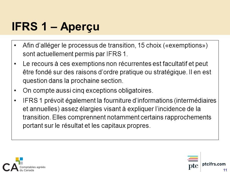 IFRS 1 – Aperçu Afin dalléger le processus de transition, 15 choix («exemptions») sont actuellement permis par IFRS 1. Le recours à ces exemptions non