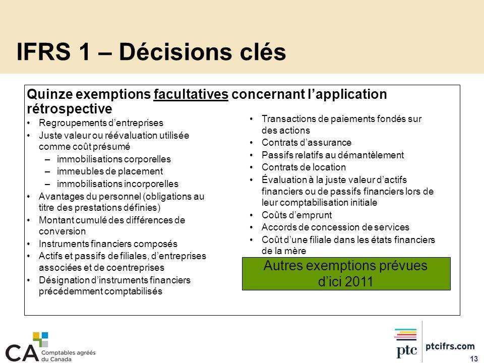 IFRS 1 – Décisions clés Quinze exemptions facultatives concernant lapplication rétrospective Regroupements dentreprises Juste valeur ou réévaluation u