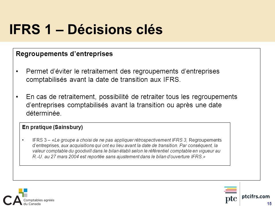 IFRS 1 – Décisions clés Regroupements dentreprises Permet déviter le retraitement des regroupements dentreprises comptabilisés avant la date de transi