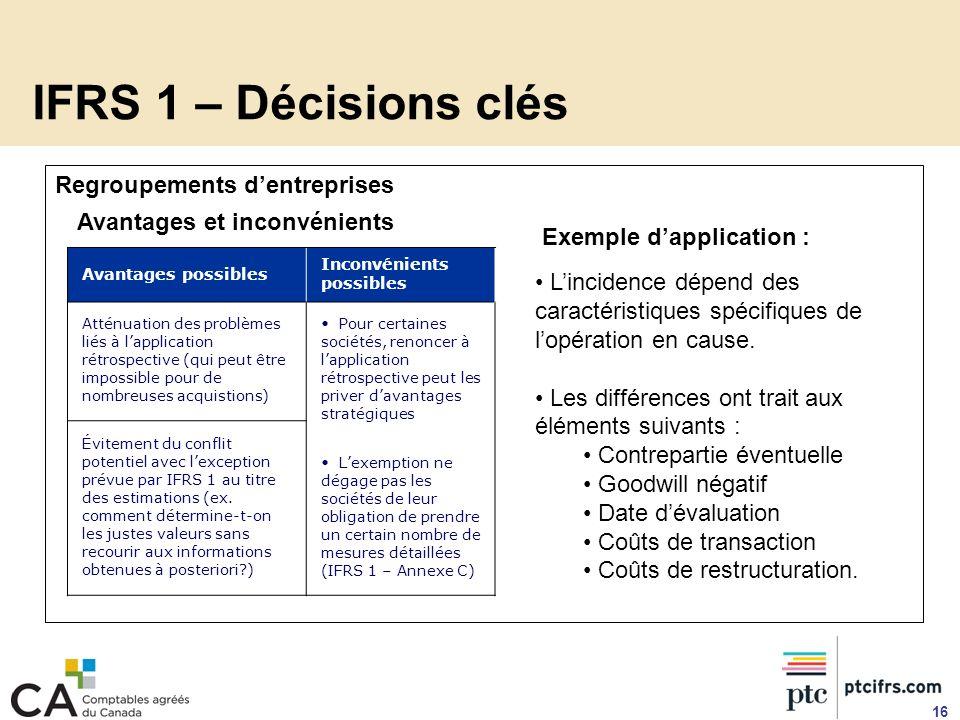 Regroupements dentreprises 16 IFRS 1 – Décisions clés Avantages possibles Inconvénients possibles Atténuation des problèmes liés à lapplication rétros