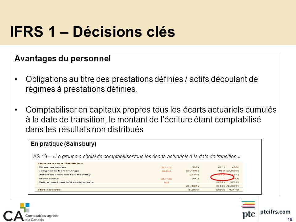 IFRS 1 – Décisions clés Avantages du personnel Obligations au titre des prestations définies / actifs découlant de régimes à prestations définies. Com