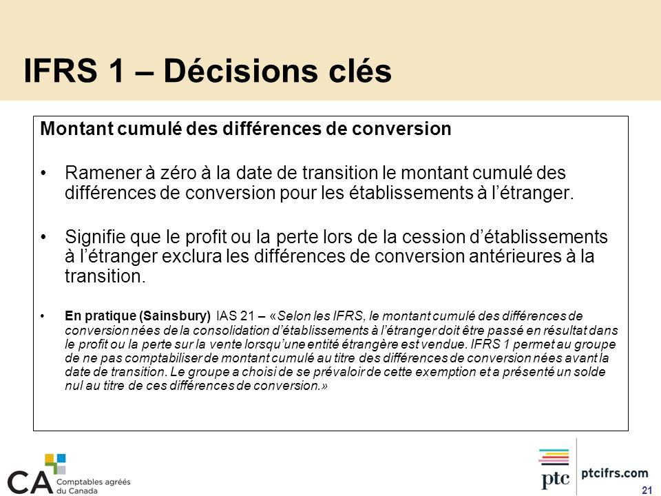 IFRS 1 – Décisions clés Montant cumulé des différences de conversion Ramener à zéro à la date de transition le montant cumulé des différences de conve